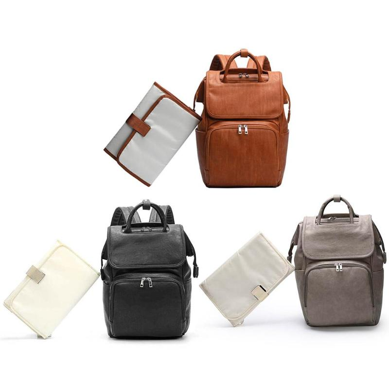 Vintage Maternity Backpacks Hot Selling Simplicity Multi-function Baby Diaper Changing Pad PU Leather Travel Mummy School Bag