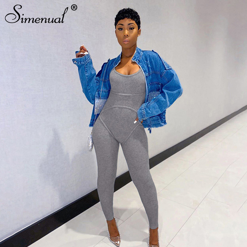 Simenual Ribbed Casual Workout Rompers Womens Jumpsuit Backless Sleeveless Fitness Active Wear Bodycon Fashion Jumpsuits Summer