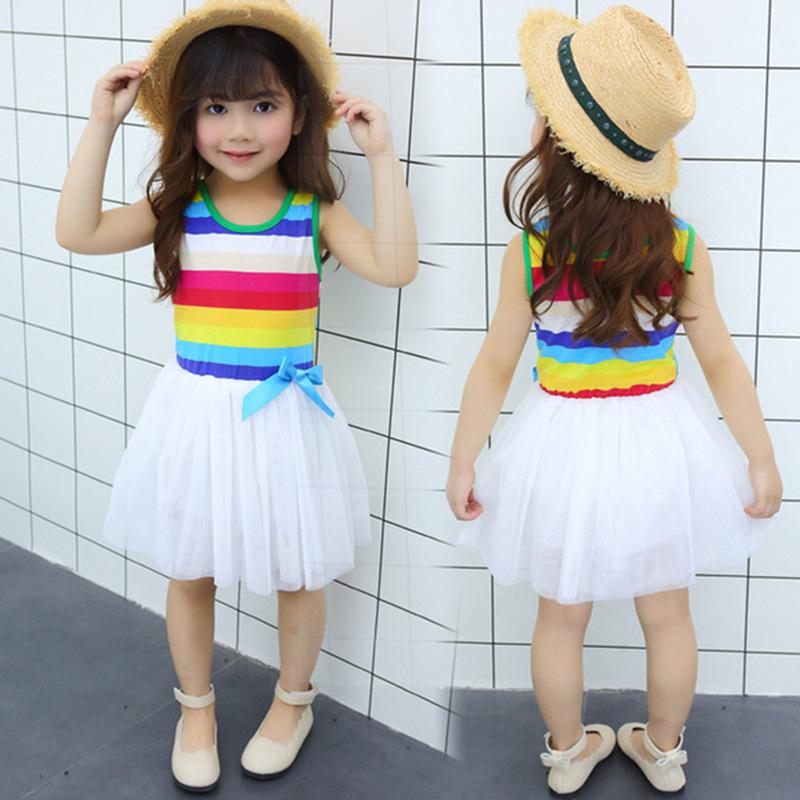 Dress for Girl Kids Summer Rainbow Toddler Dress Girl Costume Tutu Ball Gown Sleeveless Princess 1 2 3 4 5 Year 2020