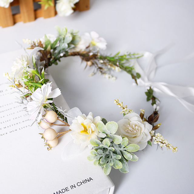 Flower Wreath Korean Green Imitation Flower Hair Decoration Bohemian For Women Wedding Bridal Hairband Girls Hair Accessories