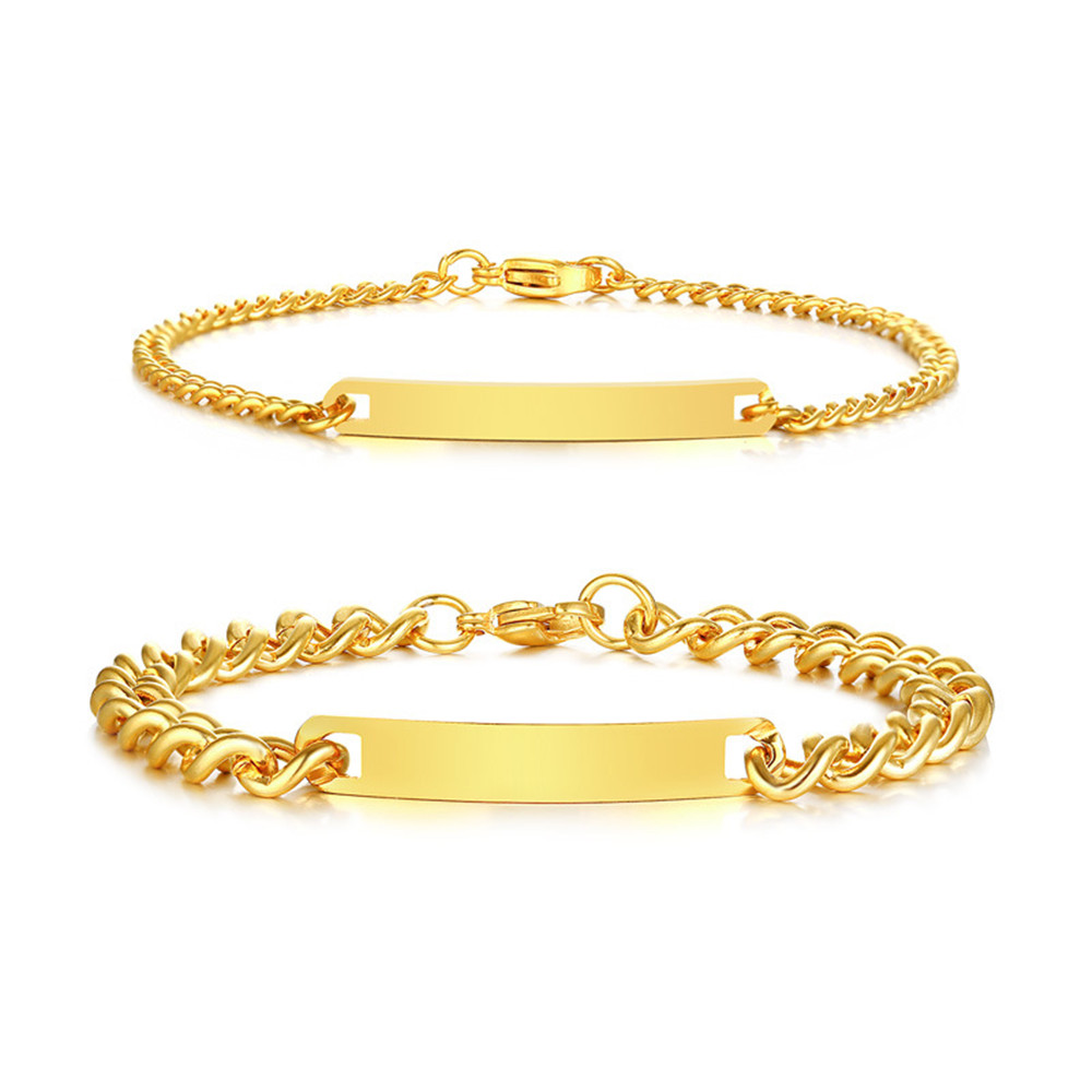 Gold color love promise bracelet for couples him & her stainless steel anniversary christmas birthday gifts men women boys girls