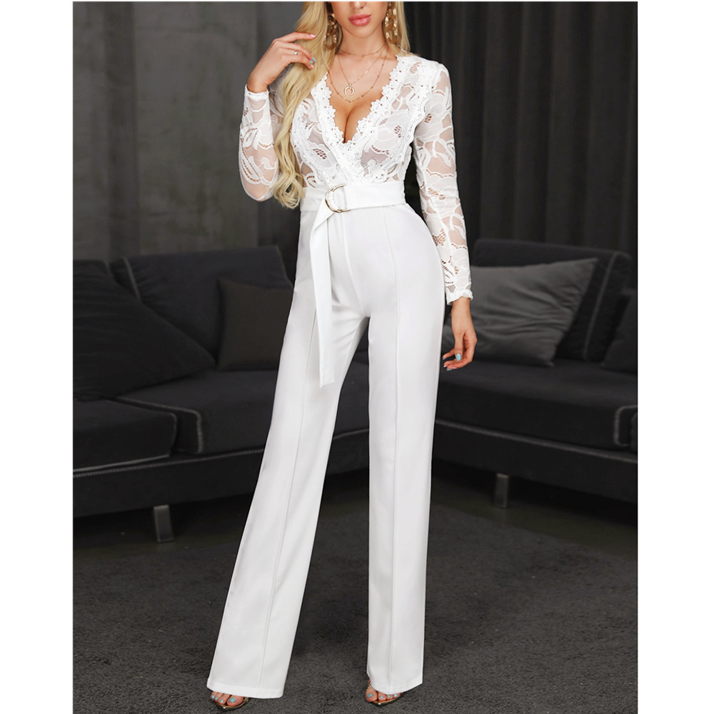 Goocheer Women Plunge V-neck Lace Bodice Insert Bodycon Wide Leg Jumpsuit Solid Casual Elegant White Long Sleeve Jumpsuits