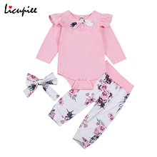 Suit Trousers Headband Romper Pants Sleeve Baby-Girl Months 0-24 Warm Floral Top Jogger