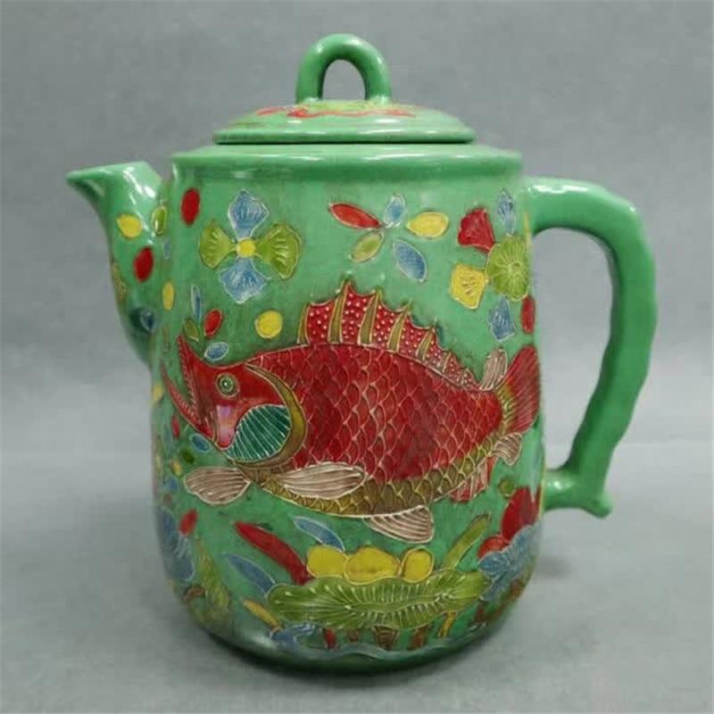 컬렉션 중국 jingdezhen 도자기 녹색 배경 핑크 구호 물고기와 조류 패턴 주전자 물 냄비 가정 장식-에서동상 & 조각품부터 홈 & 가든 의 title=