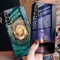 Caso de vidro temperado para huawei y7 y6 2019 casos em huawei honor 10i 10 20 lite pro 9x 8x capa de telefone pintado tampas de vidro estrelado