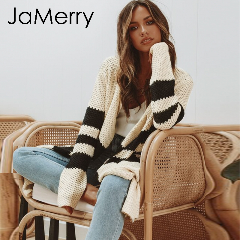 JaMerry Vintage Striped Knitted Cardigan Women 2019 Autumn Winter Long Sweater Female Casual Pockets Loose Lady Beige Cardigans