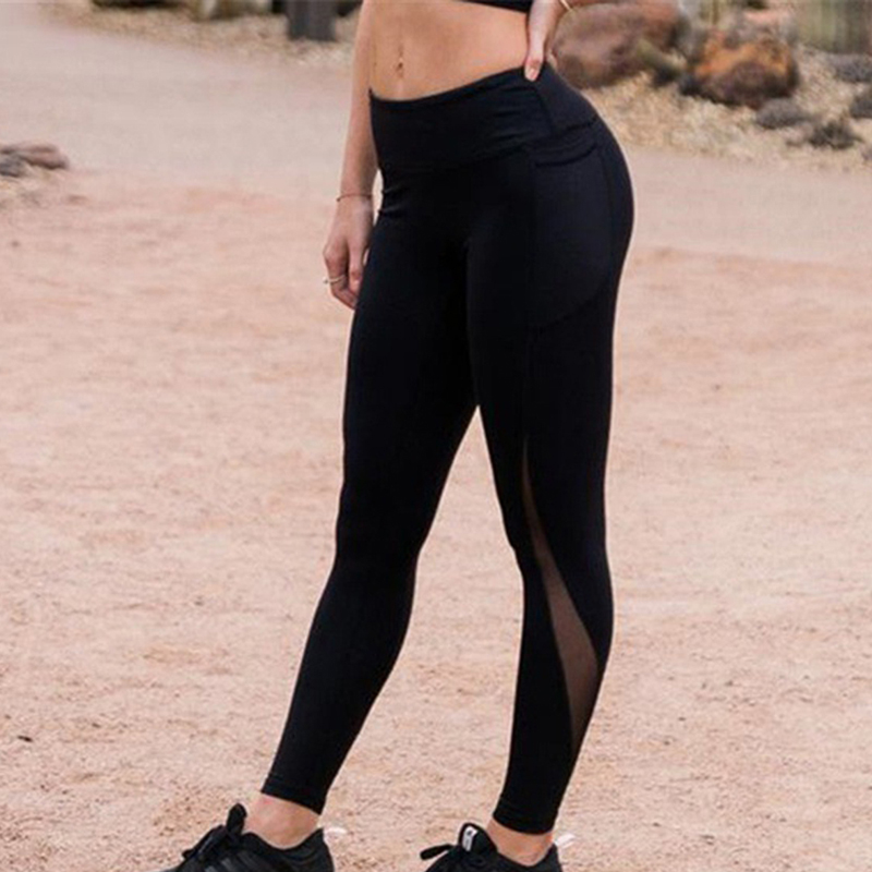Women Leggings Hip High Waist Solid Mesh Patchwork Pocket Fitness Mujer High Stretch Sportswear Ladies Polyester Casual Leggins