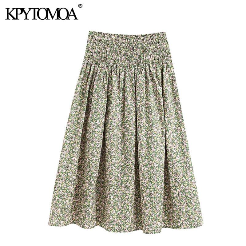 KPYTOMOA Women 2020 Chic Fashion Floral Print Pleated Midi Skirt Vintage Smocked High Elastic Waist Female Skirts Faldas Mujer