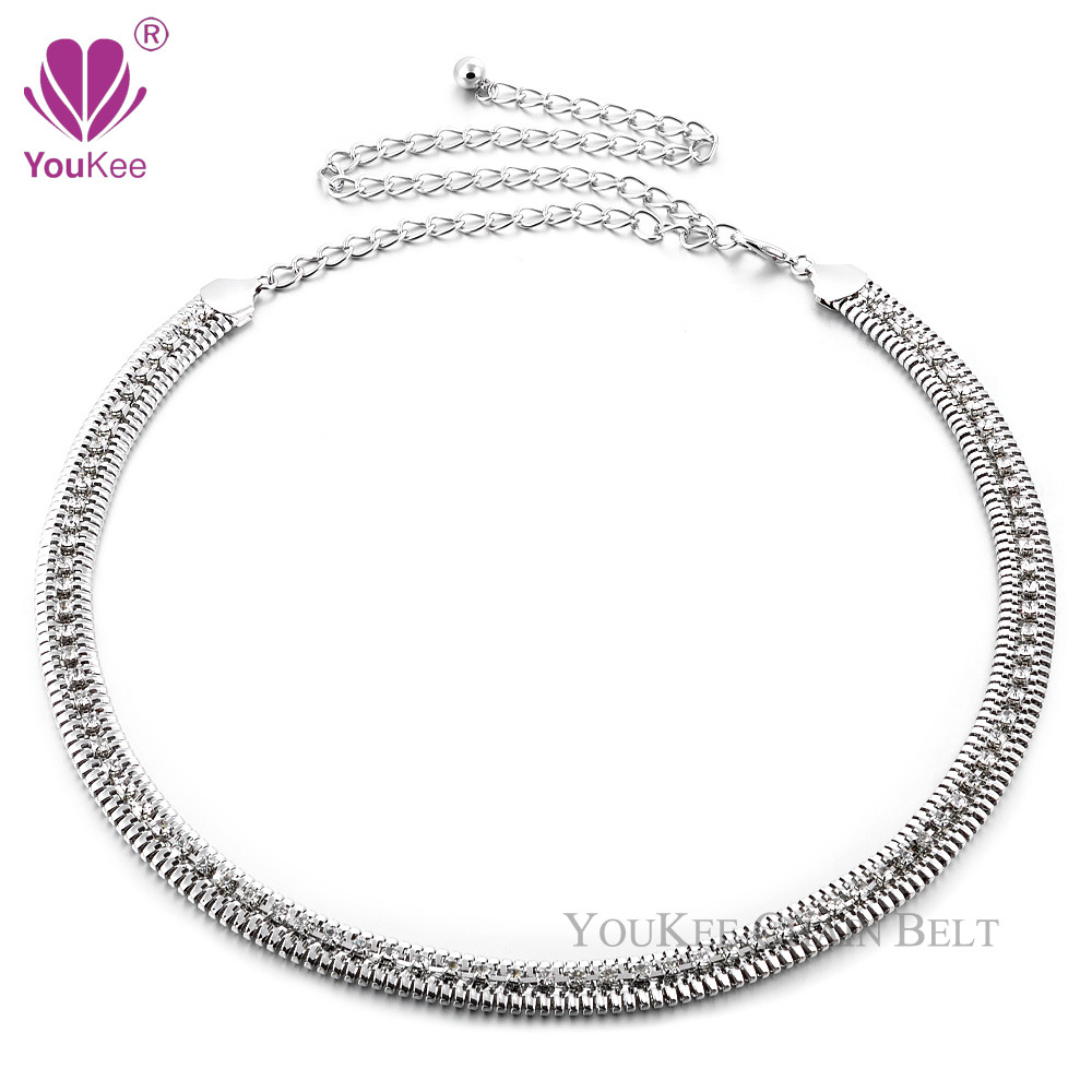 2018 Europe And America Metal Chain Belt Diamond Set Belly Dance Waist Chain Clothing Accessories Decoration Factory Price