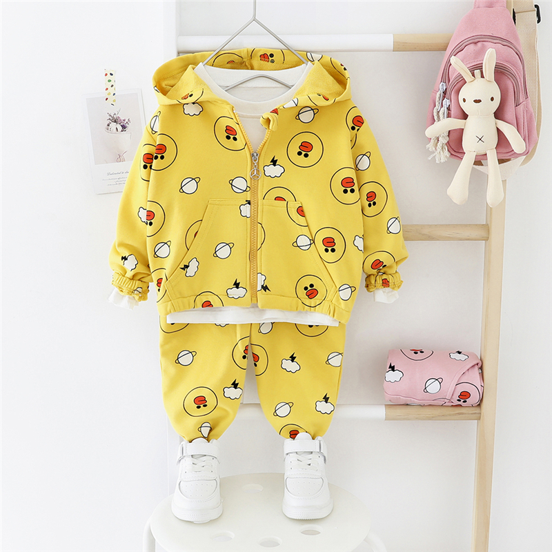 HYLKIDHUOSE 2020 Baby Girls Clothing Sets Cartoon Coats Pants Children Clothes Sets Casual Toddler Infant Vacation Clothing