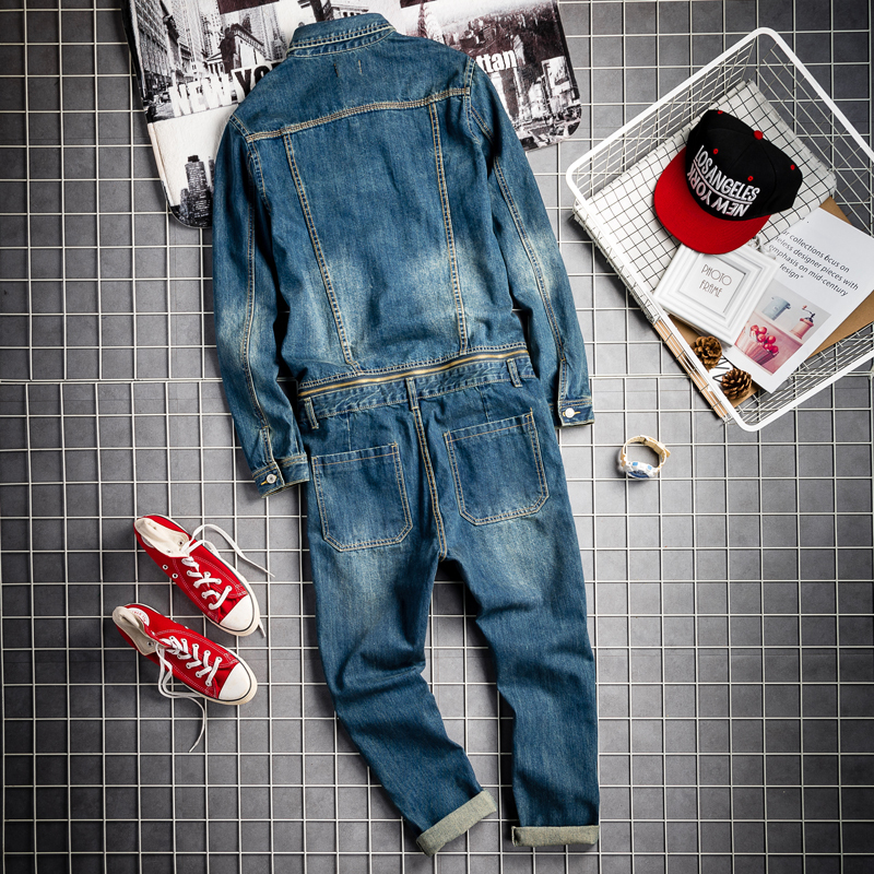 Spring Fall Mens Vintage Detachable Denim Cargo Overalls HipHop Long Sleeve Tops Straight Pants Big Size Rompers Male Jumpsuit