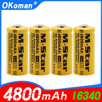 High capacity 4800mAh Rechargeable 3.7V Li-ion 16340 Batteries CR123A Battery For LED Flashlight For 16340 CR123A Battery