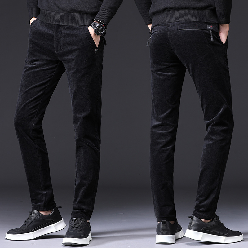 Newly Fashion Men Jeans Black Gray Slim Fit Korean Style Classical Casual Corduroy Pants Men Elastic Fleece Business Smart Pants
