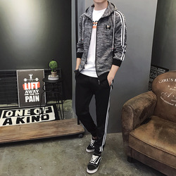 2019 Men's Fitted Autumn And Winter New Style Hooded Jacket Leisure Suit Youth Korean-style plus Velvet Sports Trend Set