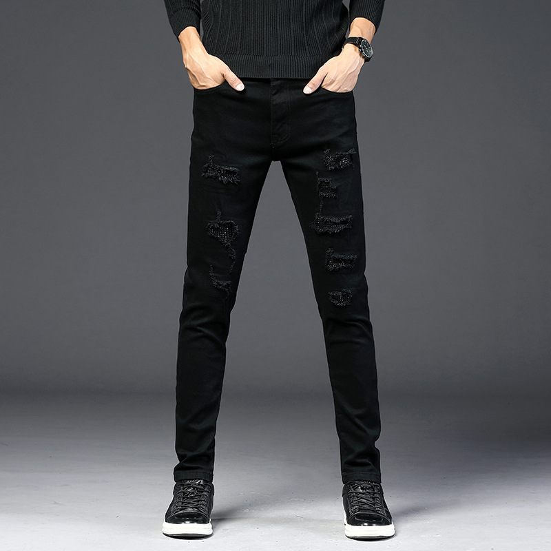 2019 Street Fashion Man BEEKING Popular Brand Solid Black Elasticity Hole Patch Shiny Sequin Slim Fit Jeans Men's