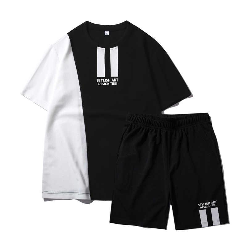 Traje de treino masculino de verão, suor, conjunto de roupas masculinas de secagem rápida, calças curtas de marca os esportes