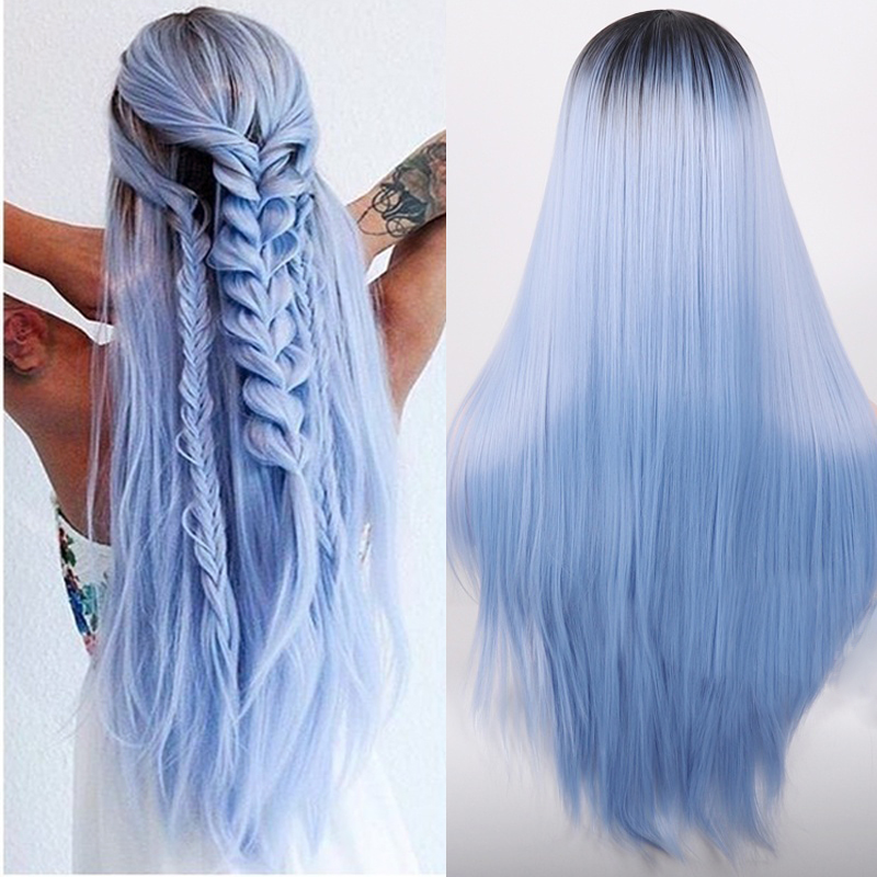 Hb757ec975c714bea94a080bc769f717au - Linghang Ombre Blue Straight Long Synthetic Wigs For Women Black Pink Wigs 24 inch 11 Color can be Cosplay Wigs