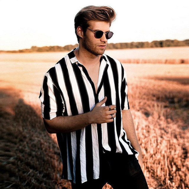 Mens Short Sleeve Button Down Shirts Tops Striped Turn Down Collar Slim Fit Casual Stylish Shirts