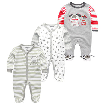 0-12Months Baby Rompers Newborn Girls&Boys 100%Cotton Clothes of Long Sheeve 1/2/3Piece Infant Clothing Pajamas Overalls Cheap - Baby Rompers RFL3123, 12M