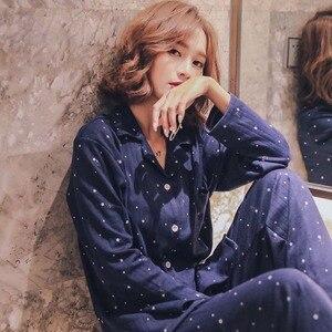 Image 5 - Mùa thu Mới Nữ Bộ Đồ Ngủ Set Full Bộ Cotton Cổ Gập Phong Cách Hàn Quốc Đồ Ngủ Hoạt Hình In Hình Ngôi Sao Phong Cách Đơn Giản Homewear