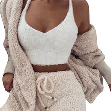 Women Plush Tanks Tops Winter Warm Fleece V Neck White Camisole Sexy Clubwear Party Cropped Top Blouse Thick Cami Tube Vests