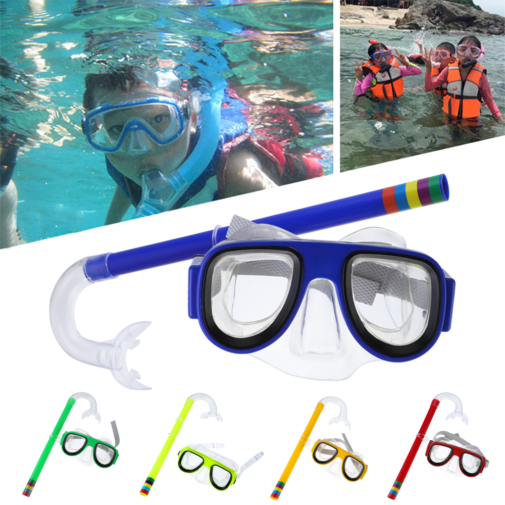 Swimming Snorkel Set Underwater Mask Comfortable Double Lens Snorkeling Mask 3-8 Years Kids Breathing Tube Swim Equipment image