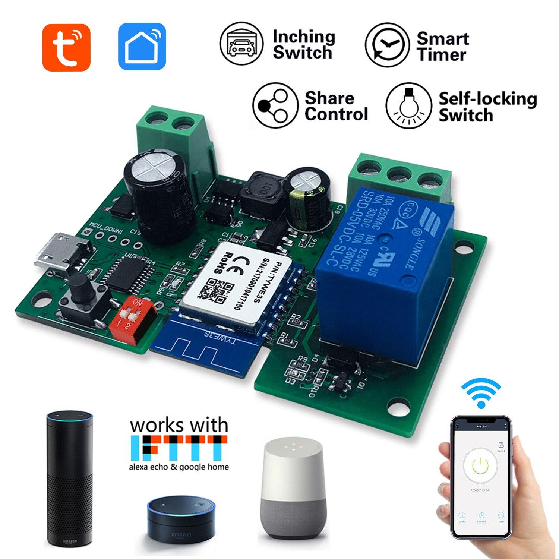 Interruptor de Auto-travamento Módulo sem Fio Tuya Single-way Ponto Wi-fi Relé Cronometrando Controle Remoto Inteligente 1ch