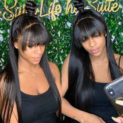 Парик с челкой для черных женщин челка парик человеческих волос прямой парик фронта шнурка 360 фронта шнурка al парик предварительно выщипыва...