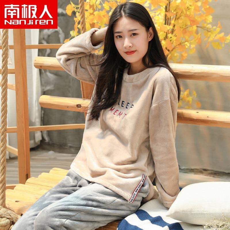 NANJIREN Pajama sets Long Sleeve Flannel Women Pajama Casual Homewear Women Winter Thicken Plus Fleece Pajamas set Coral Fleece