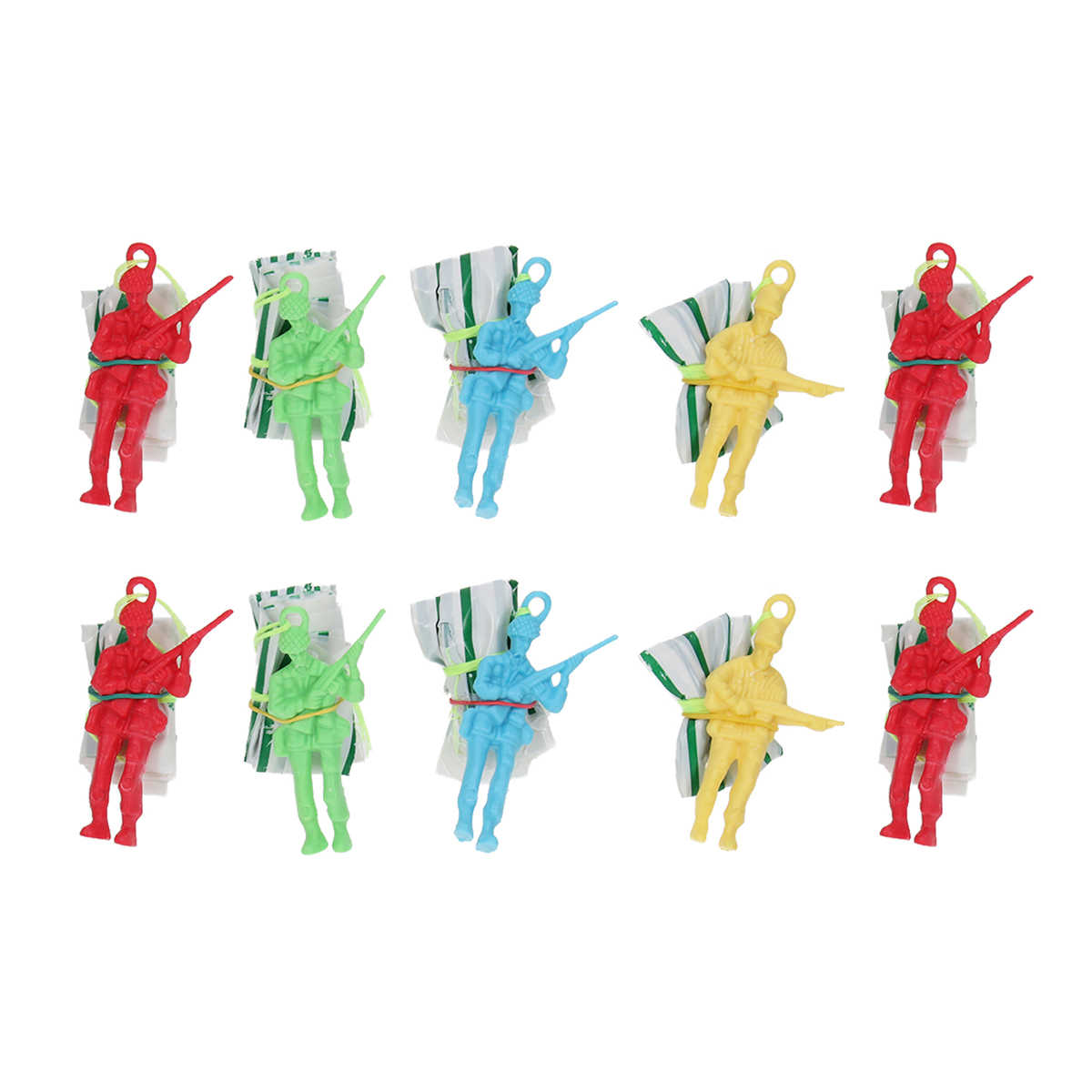 BESPORTBLE Mini Paratroopers with Parachutes Plastic Army Men Soldier Action Figure Toy Military Playset Christmas Stocking Stuffers Goody Bag Fillers Birthday Gifts 10pcs