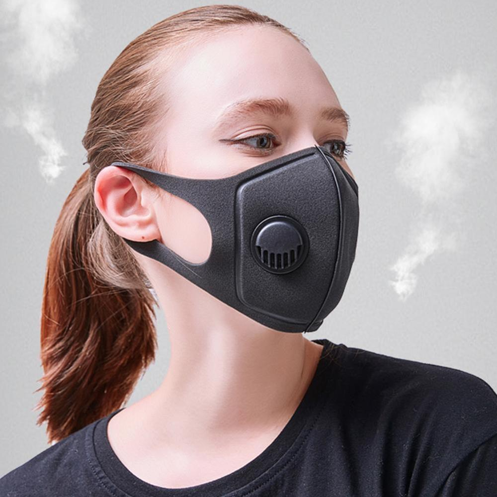 Men Women Anti Dust Mask Anti PM2.5 Pollution Face Mouth Respirator Black Breathable Valve Mask 3D Mouth Cover