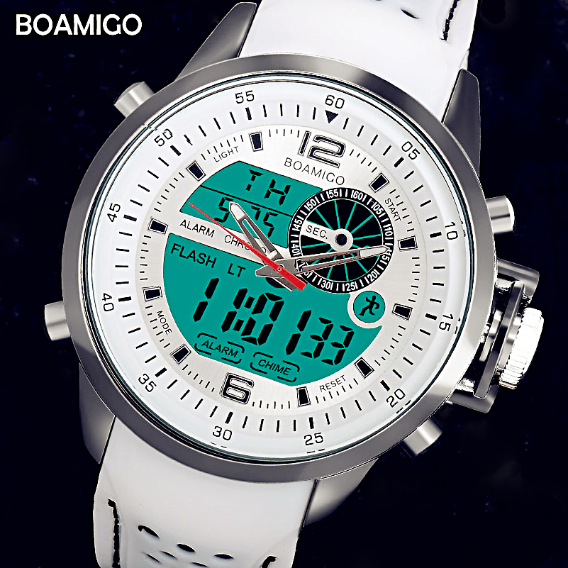 BOAMIGO Top Brand Luxury Watch Men White Sports Watches Digital Watch Luminous Military Quartz Wristwatches Relogio Masculino