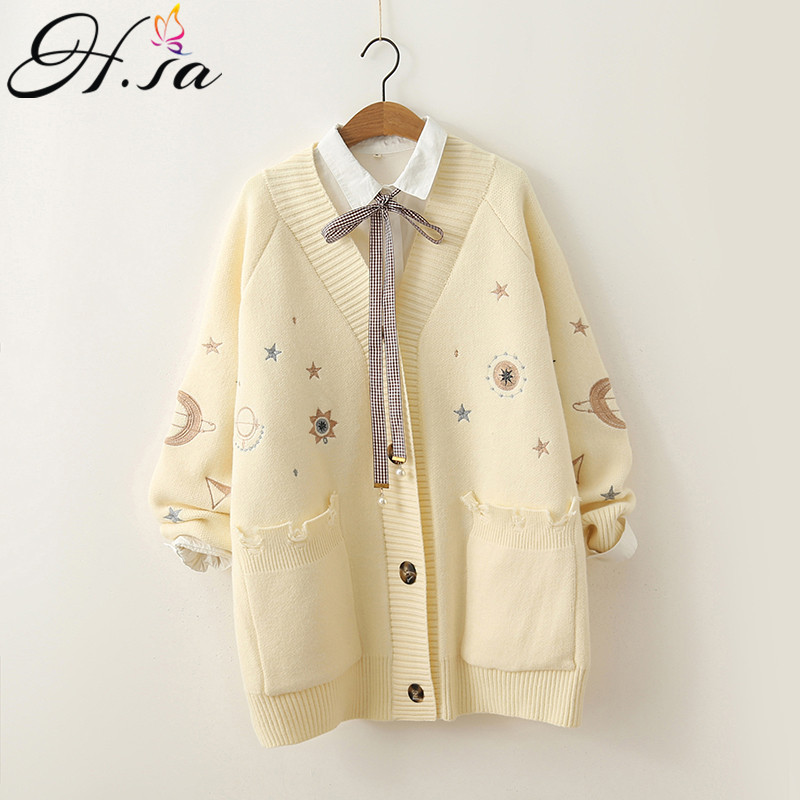 H.SA 2019 Women Winter Sweater Knitting Cardigans V Neck Stars Moon Embroidery Long Sweater Jacket Pink Christmas Cardigans