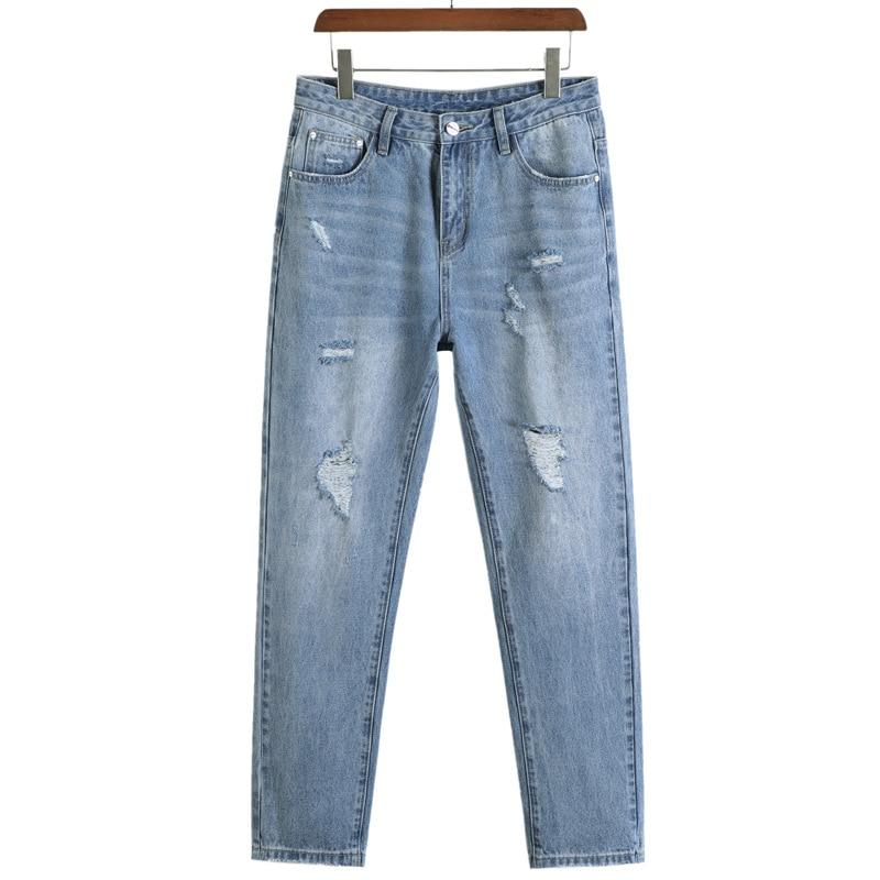 2020 Classic New Fashion Men's Jeans Men's Casual Cotton Slim Denim Trousers High Quality Stretch Hole Pants