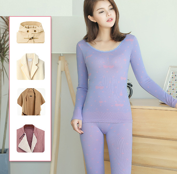 Women Thermal Underwear Winter V-neck Slim Long Johns Warm Push Up Hips Sexy Suit At Home Ouc681aouc681
