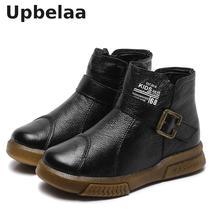 Botas para niños moda niños Vintage botas occidentales tobillo Martin botas niños cuero genuino cálido invierno niñas nieve zapatos escuela