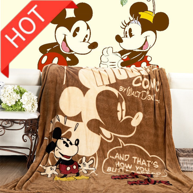 Cartoon Pink Minnie Mickey Mouse Soft Flannel Blanket Throw For Girls Children On Bed Sofa Couch 150X200CM Kids Gift