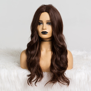 Image 2 - ALAN EATON Long Dark Brown Wavy Wigs Cosplay Natural Synthetic Wigs for Black Women Heat Resistant Hair Wigs Middle Part 24