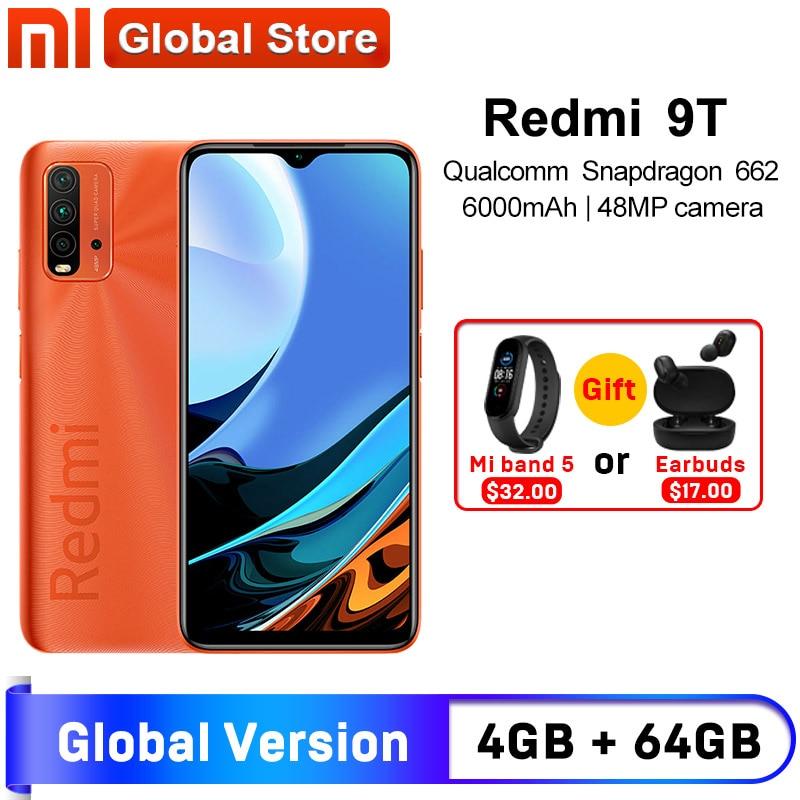 Câmera traseira 128 mah não nfc do snapdragon 662 48mp do smartphone da versão global da estreia do mundo xiaomi redmi 9t 4gb 64gb/4gb 6000 gb|Celulares|   -