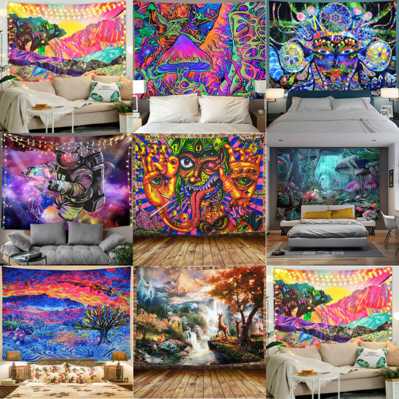 2020 New Fashion Modern Psychedlic Mandala Tapestry Hippie Room Wall Rectangle Hanging Blanket Art Home Decor 95*73cm