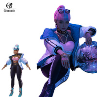 ROLECOS LOL True Damage Qiyana Cosplay Costume LOL Qiyana Cosplay Sexy Costume Women Winter Coat Pants Trousers Tube Top Suit