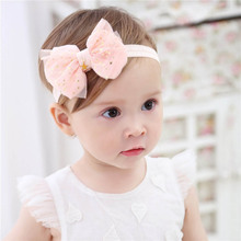 Baby Headband Baby haarband Flower Girls Pink Ribbonbaby Girl Headbands Baby Bows Headbands Baby Turban Baby Hair Accessories cheap COTTON Baby Girls BY0474 0-1M Floral Cloth