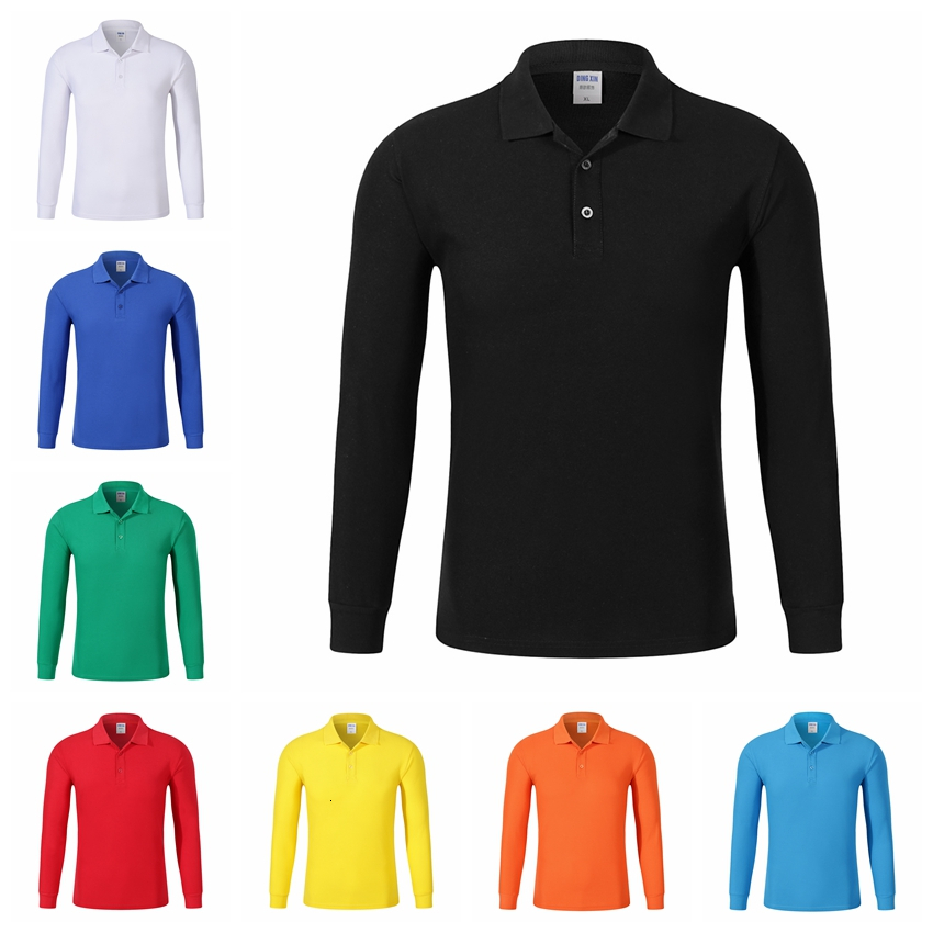 Plus Size Men Polos Shirt 4XL Cotton Long Sleeve Casual Solid Breathable Man Polo Shirt Autumn Winter High Quality POLO Customed