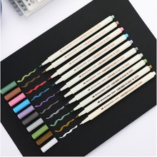 10pcs Metallic Color Brush Marker Pen Set Soft Painting Drawing Hand Lettering Calligraphy School Home DIY Art Supplies A6965