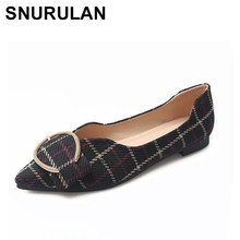 SNURULAN Plus sizes 33-43, 2019 flat shoes women fashion pointed toe flat shoes casual shoes elegant women organic leather mode(China)