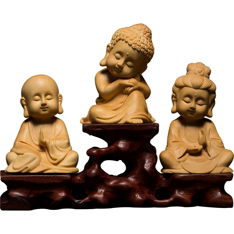 Wood Three figures Exquisite Natural Boxwood Carving Buddha Q version lovely gift Goddess of Mercy carving handicraft Decoration