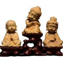 Drewno trzy figury wykwintne naturalne rzeźba z drewna bukszpanu budda Q wersja uroczy prezent bogini miłosierdzia rzeźba ręcznie robiona dekoracja