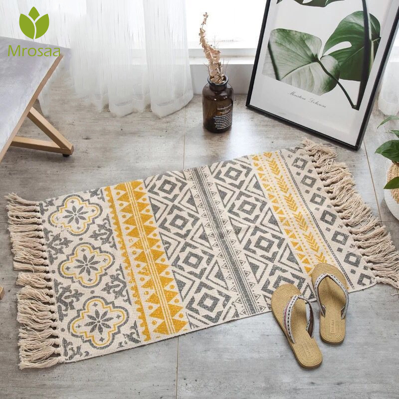 2020New Retro Bohemian Hand Woven Cotton Linen Carpet Rug Bedside Rug Geometric Floor Mat Living Room Bedroom Carpet Home Decor(China)