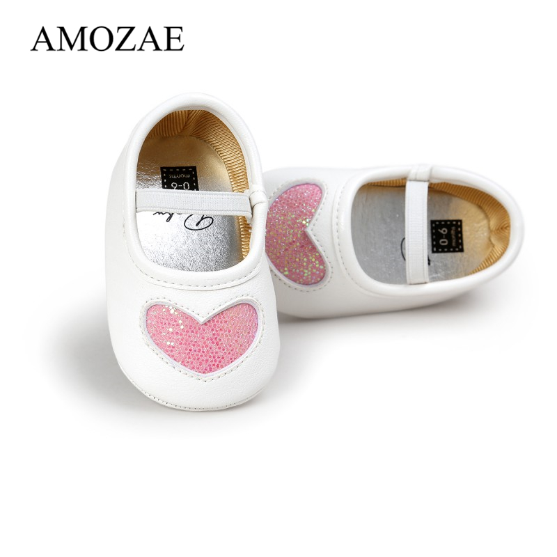 2020 Autumn Spring Fashion Baby Shoes New Lovely First Walker PU Soft Bottom Shining Sequin Love Baby Girl Princess Shoes 0-18M