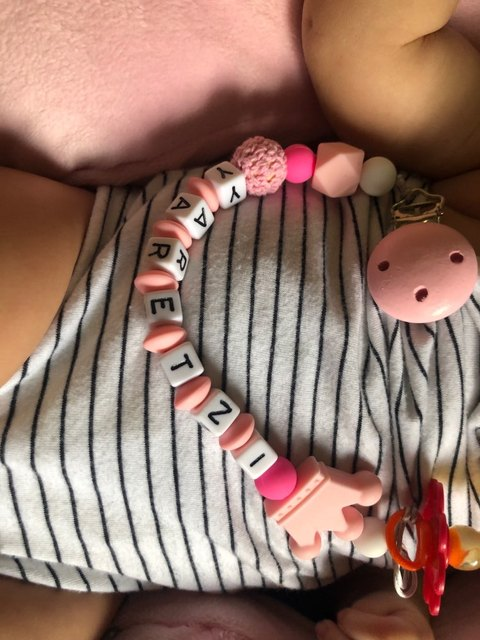 1pcs Pink Silicone Personalised Name Baby Pacifier Clips Crochet Beads Silicone Crown Pacifier Chain Holder Baby Shower Gift 6